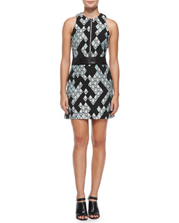 3.1 Phillip Lim Belted Geometric-Print Zip-Front Dress, Celadon/Black
