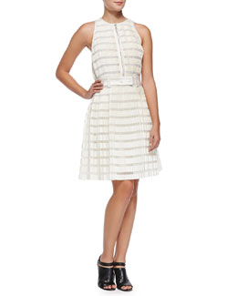 3.1 Phillip Lim Striped Accordion-Pleated Fit-And-Flare Dress, Ivory