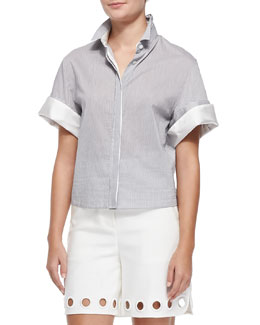 Boxy Short-Sleeve Button-Down Shirt