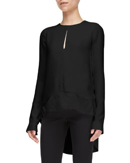 Narciso Rodriguez Long-Sleeve High-Low Silk Blouse, Black