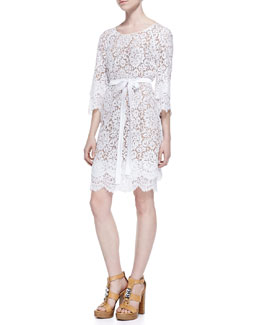 Michael Kors Tie-Waist Scalloped Lace Dress, Optic White