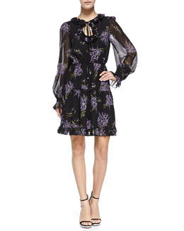 Michael Kors Floral-Print Peasant Dress, Black/Wisteria