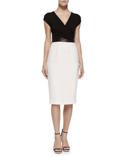 Michael Kors Cross-Front Plunge Contrast Sheath Dress