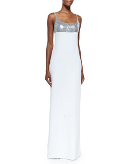 Michael Kors Sequined Tank Gown, Silver/White