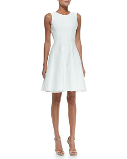 Zac Posen Scoop-Back Pleat-Front Dress, Magnolia