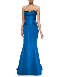Zac Posen Strapless Split-Peplum Back-Pleat Gown, Cobalt