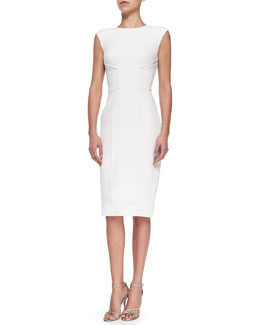 Zac Posen Princess Seamed Fitted Dress, Magnolia