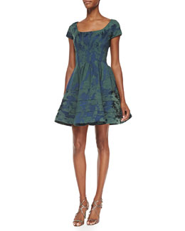 Zac Posen Scoop-Neck Floral-Brocade Party Dress, Eton Blue