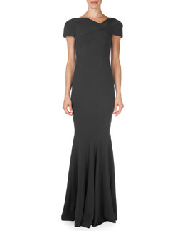 Roland Mouret Otley Short-Sleeve Asymmetric V-Neck Gown