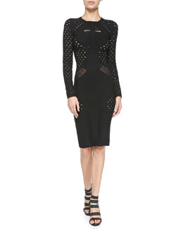 Cushnie et Ochs Long-Sleeve Cutout Knit Sheath Dress