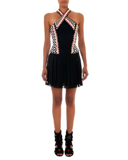 Balmain Beaded Halter Dress with Short Skirt, Black/White/Orange