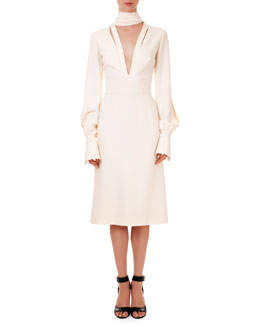 Givenchy Slit-Front Scarf Crepe Dress
