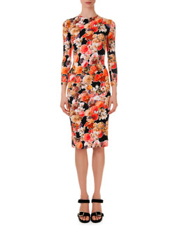 Givenchy Floral-Print Fitted Jersey Dress