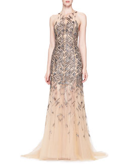 Lela Rose Bead-Embroidered Chiffon Gown