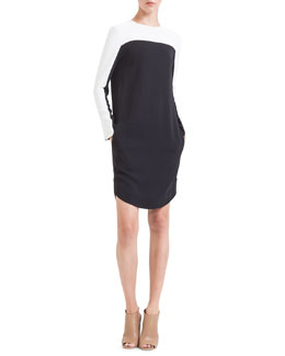 Akris punto Colorblock Jersey Shirtdress, Noir/Creme