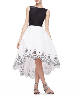 Oscar de la Renta High-Low Dress with Laser-Cut Hem, Black/White