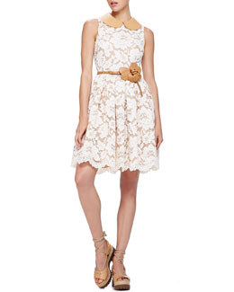 Michael Kors Lace Dress with Leather Collar, Muslin
