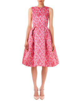 Mary Katrantzou Astere Lace/Letter Printed Satin Dress
