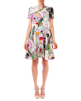 Mary Katrantzou Chrono Textured Poppies Candy Flounce Dress