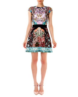 Mary Katrantzou Sirene Falsa Liala Printed Ponte A-Line Dress