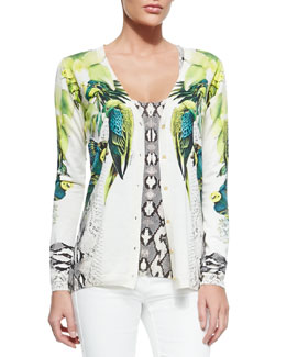 Roberto Cavalli St. Barth Printed Silk/Cotton Cardigan