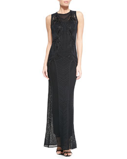 Roberto Cavalli Paneled-Knit Bead-Embroidered Gown, Black