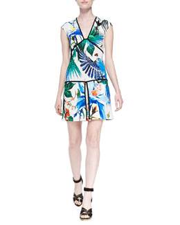 Roberto Cavalli Alize-Print Piped Drop-Waist Dress