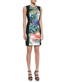 Roberto Cavalli Mustique-Print Jewel-Neck Sheath Dress, Black