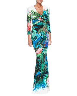 Roberto Cavalli Mustique Tropical Floral-Print 3/4-Sleeve Gown