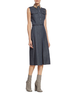 Gucci Denim Dress with Python Collar