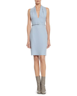 Gucci Blue Light Cady Draped Neck Dress
