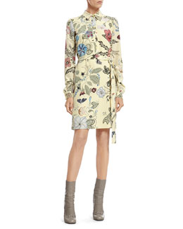 Gucci Flora Knight Print Silk Shirtdress