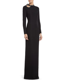 Gucci Black Silk Gown with Crystal Knot Detail