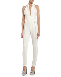 Gucci Pearl White Silk Cady Jumpsuit
