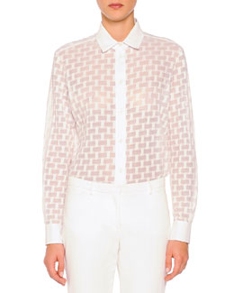 Piazza Sempione Sheer Box-Textured Blouse, White
