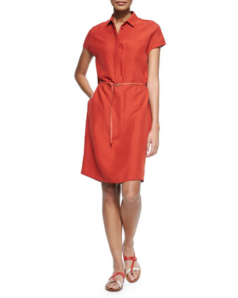 Loro Piana Maggie Belted Silk Shantung Shirtdress, Rouille Red