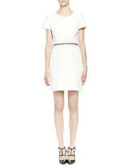 Lanvin Pierced-Waist Dress, Ecru
