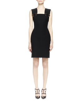 Pierced Wide-Strap Dress, Black