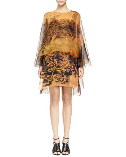 Lanvin Printed Organza Double-Layer Dress, Golden Yellow