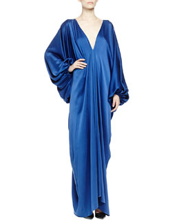 Lanvin Silk Satin Plunging Balloon-Sleeve Gown, Royal Blue