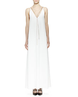 Lanvin Chain-Trim Plunge-Neck Gown, Ecru