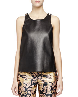 Lanvin Studded Leather Tank Top, Black