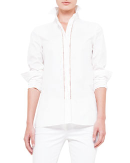 Akris punto Long-Sleeve Hemstitch-Front Blouse