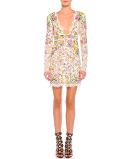 Emilio Pucci Poppy Rocks Long-Sleeve Lace Dress