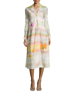 Missoni Beaded Floral-Applique Zigzag Long Coat, Pink Multi