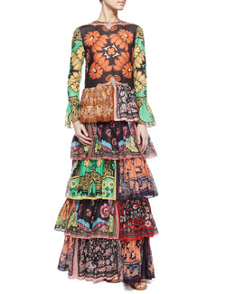 Valentino Patchwork-Print Ruffle-Tiered Dress
