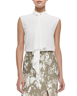 Jason Wu Cady Crepe Foulard Top, Chalk