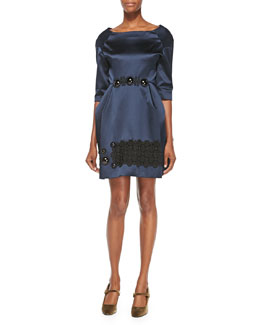 Marc Jacobs Cabochon-Embroidered Duchesse Satin Dress, Navy