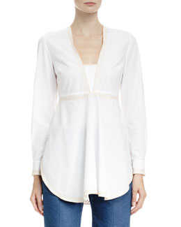 Stella McCartney V-Neck Top with Embroidered Trim