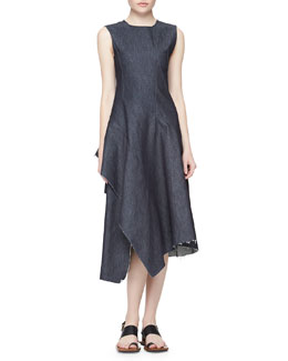 Marni Asymmetric Ruffled Denim Dress, Navy Blue